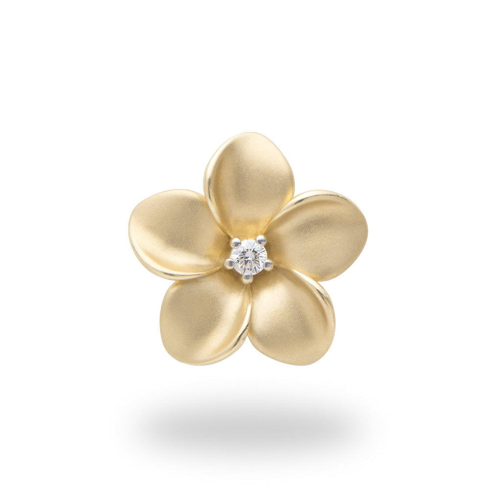 Plumeria Pendant with Diamond in 14K Yellow Gold - 20mm
