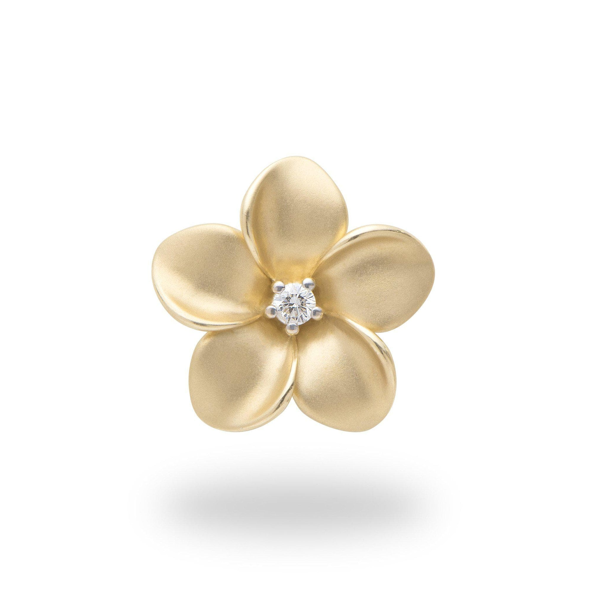 Plumeria Pendant in Gold with Diamond - 20mm-[SKU]