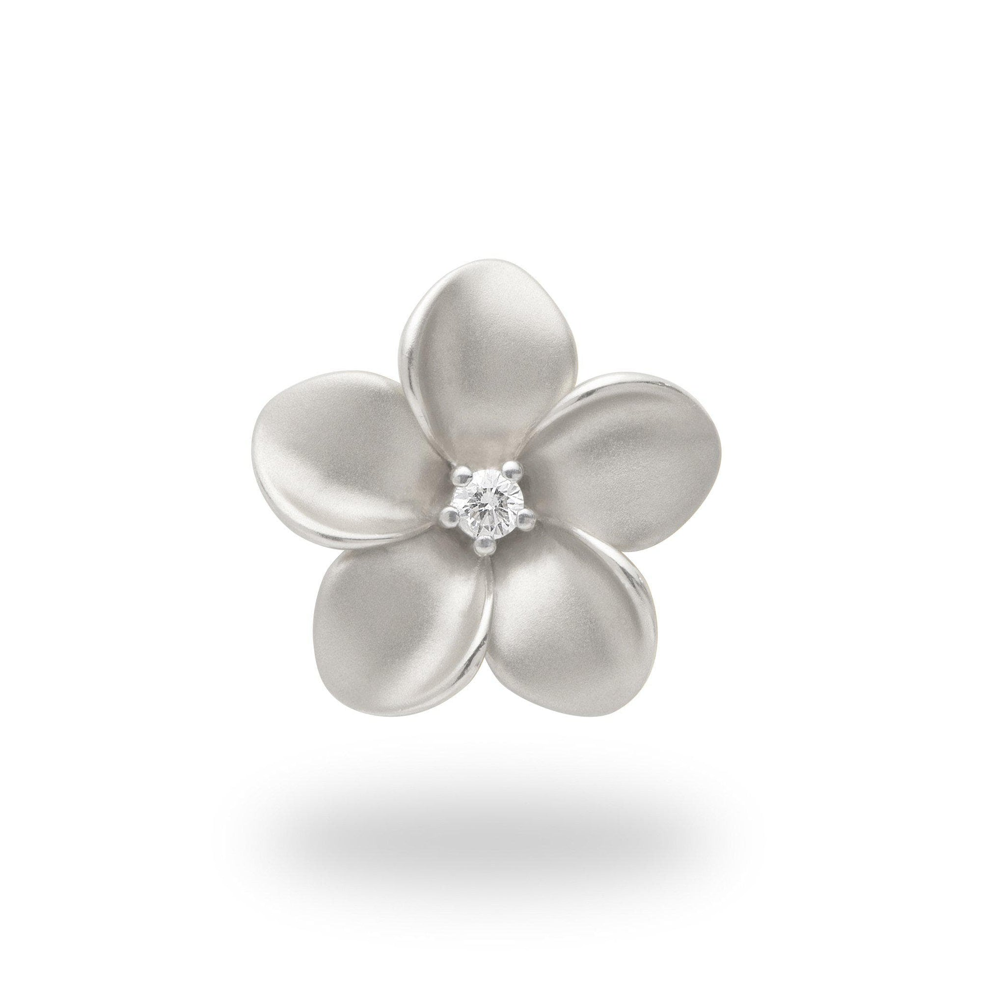Plumeria Pendant in White Gold with Diamond - 20mm-[SKU]