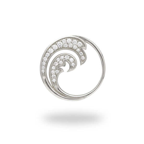 Nalu Pendant in White Gold with Diamonds - 24mm-[SKU]