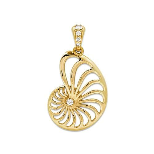 Nautilus Pendant with Diamonds in 14K Yellow Gold - 22mm