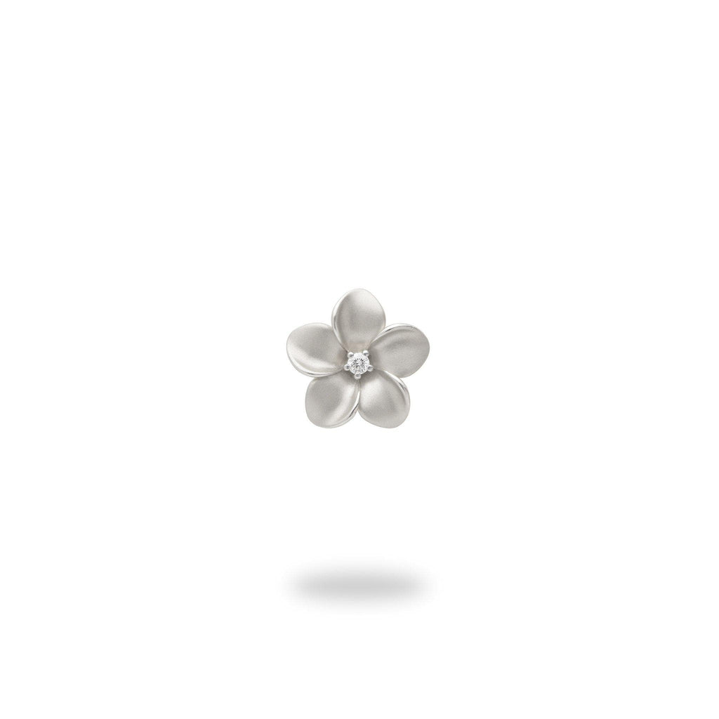 Plumeria Pendant in White Gold with Diamond - 9mm-[SKU]