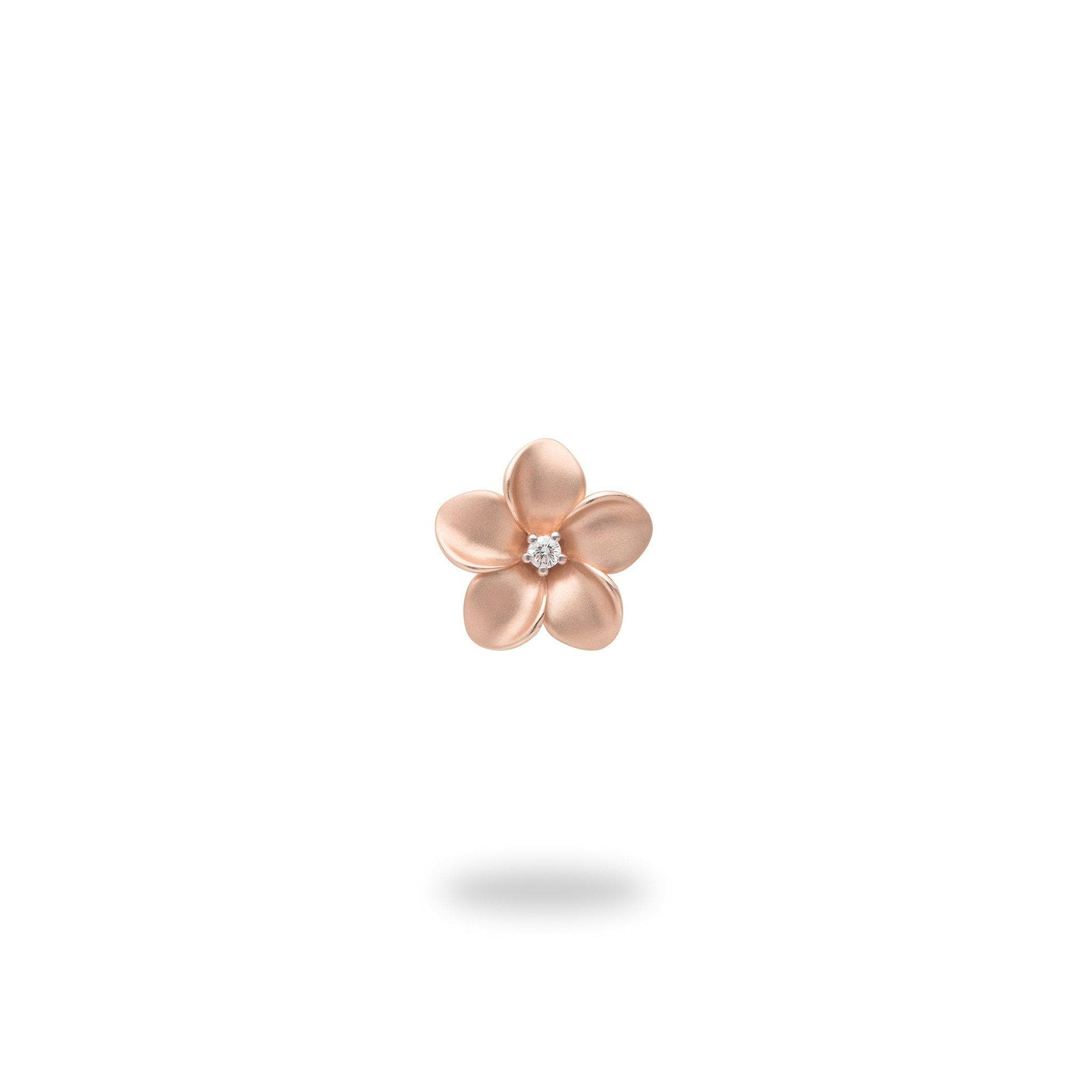 Plumeria Pendant in Rose Gold with Diamond - 9mm-[SKU]
