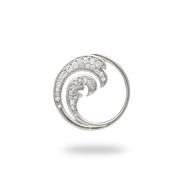 White gold wave pendant with diamonds