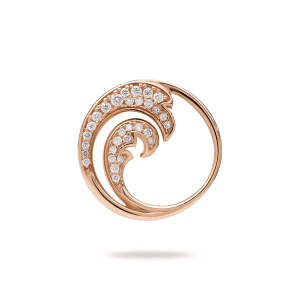 Nalu Pendant in Rose Gold with Diamonds - 22mm-[SKU]