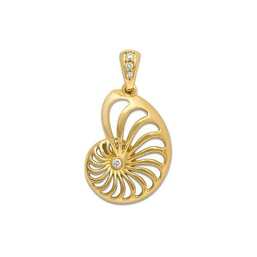 Nautilus Pendant with Diamonds in 14K Yellow Gold - 19mm