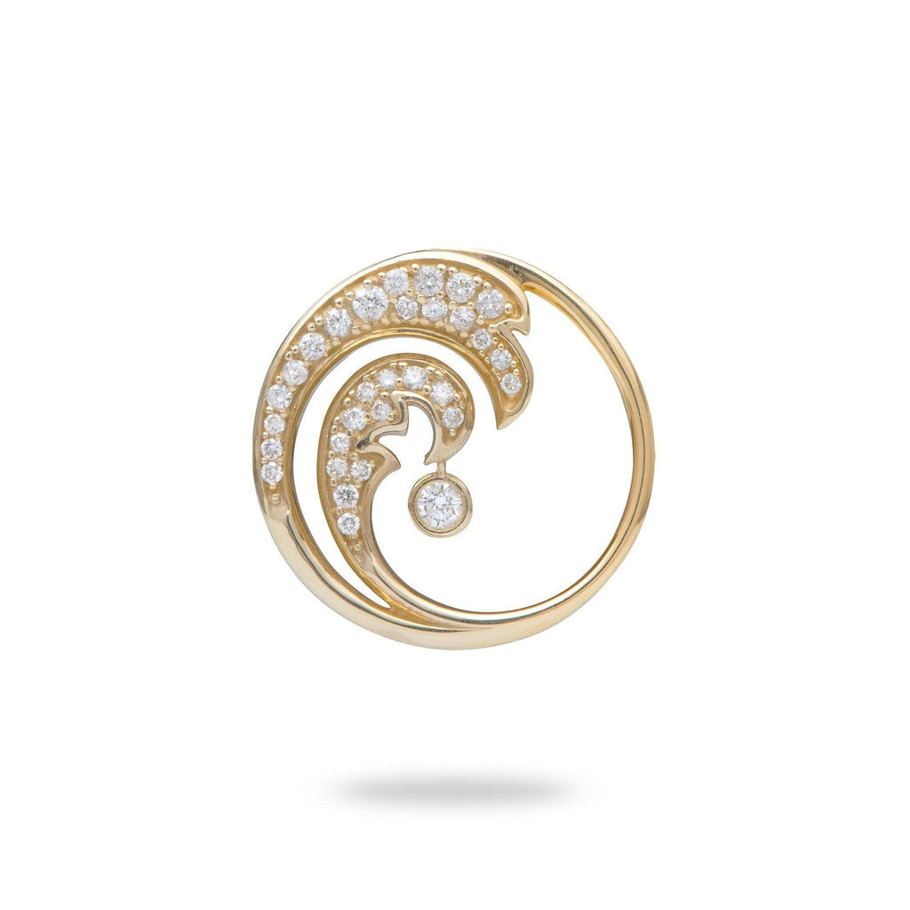yellow gold wave pendant with diamonds