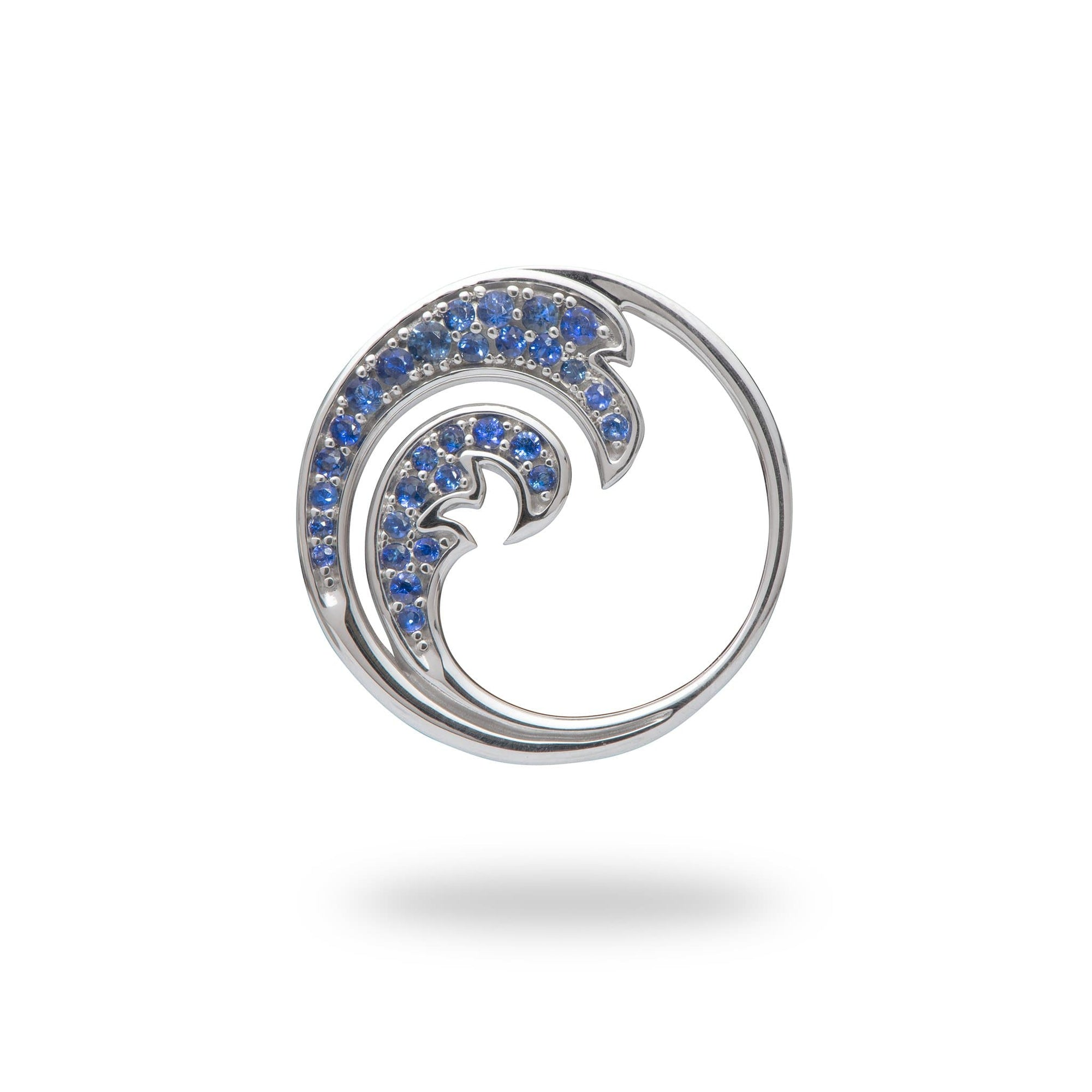 white gold wave pendant with blue sapphires