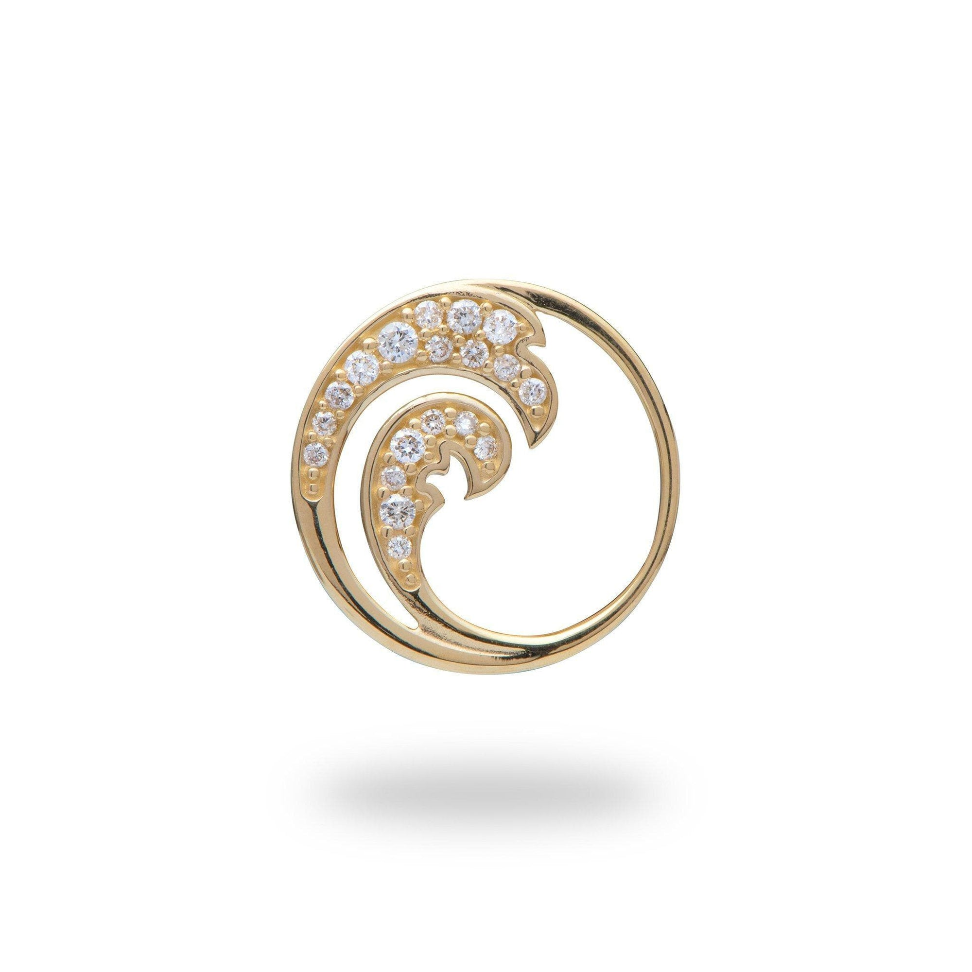 Nalu Pendant in Gold with Diamonds - 15mm - Maui Divers Jewelry