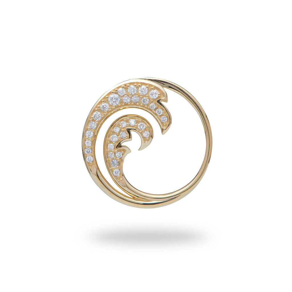 Nalu Pendant with Diamonds in 14K Yellow Gold - 26mm