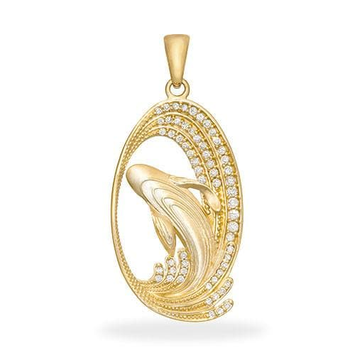 Whale Pendant with Diamonds in 14K Yellow Gold - 28mm