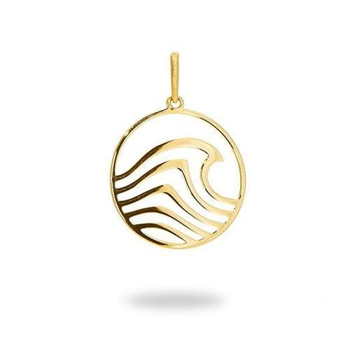 Nalu Pendant in 14K Yellow Gold - 22mm