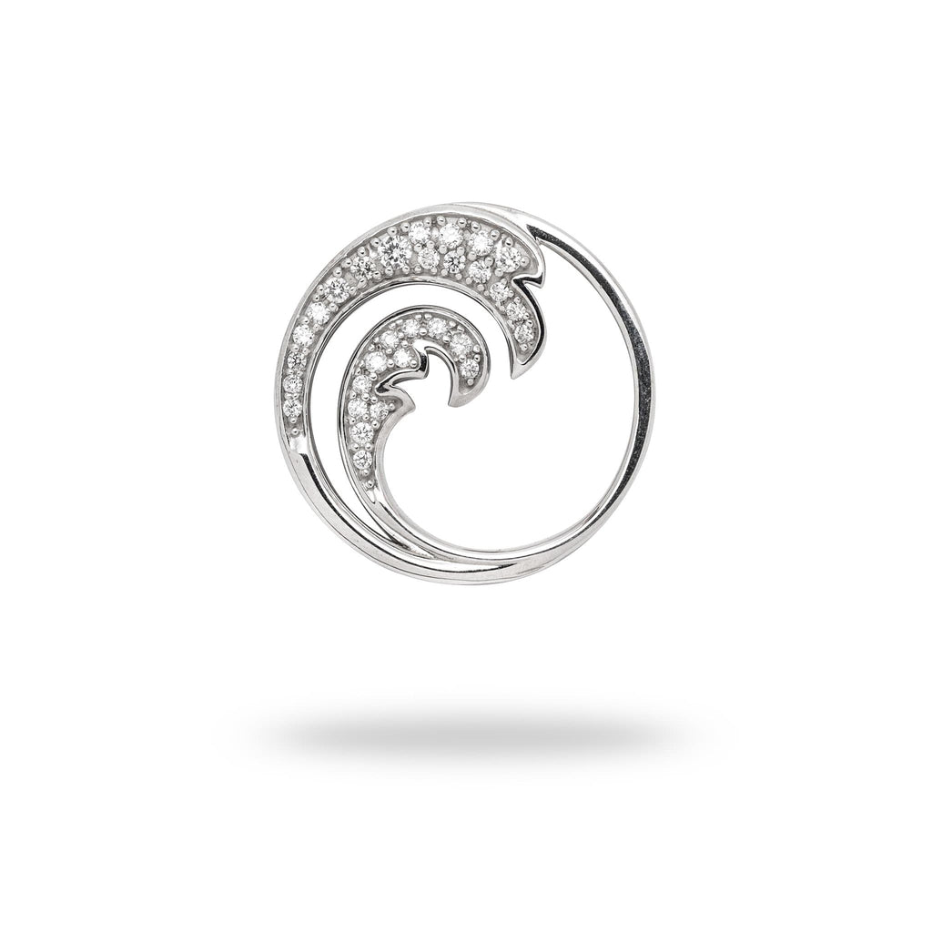 Nalu (Wave) Pendant with Diamonds in 14K White Gold