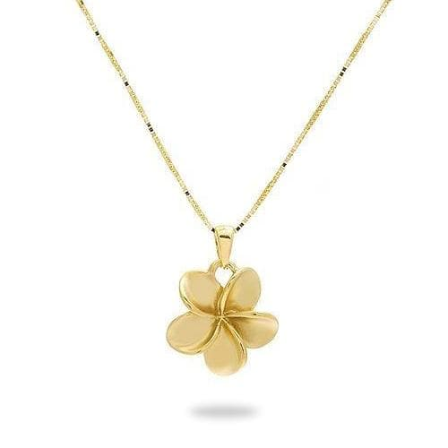 Plumeria (11mm) Necklace in 14K Yellow Gold-011-01581