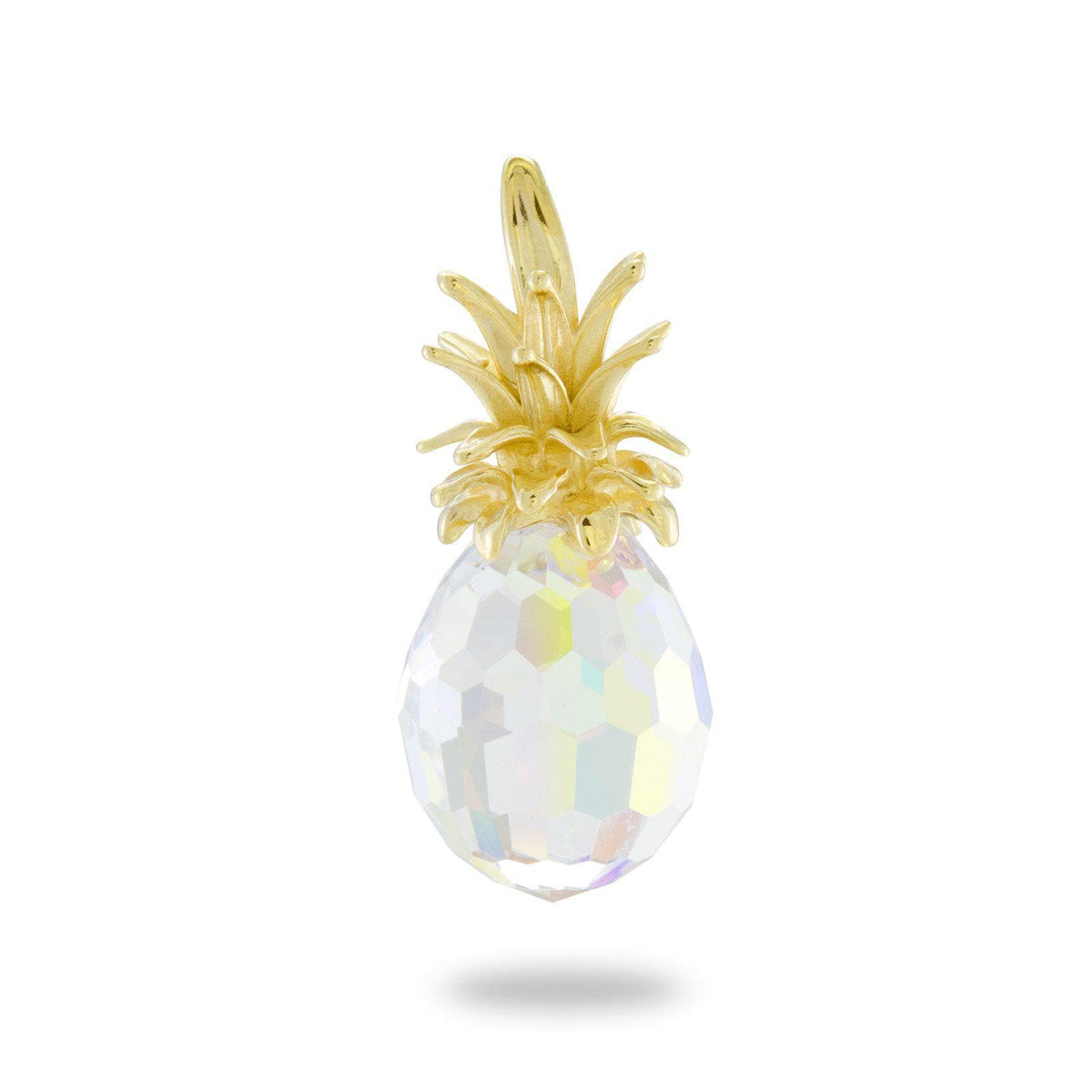 Crystal Pineapple Pendant in 14K Yellow Gold-[SKU]