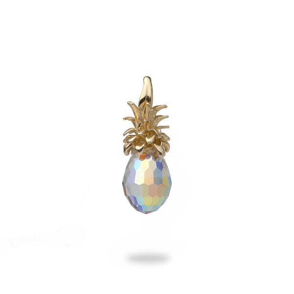Crystal Pineapple Pendant in Gold - Small-Maui Divers Jewelry