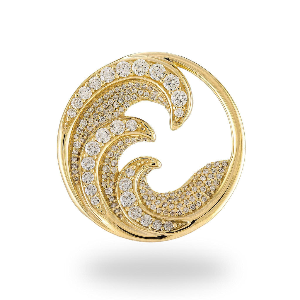 Nalu Pendant in Gold with Diamonds - 26mm