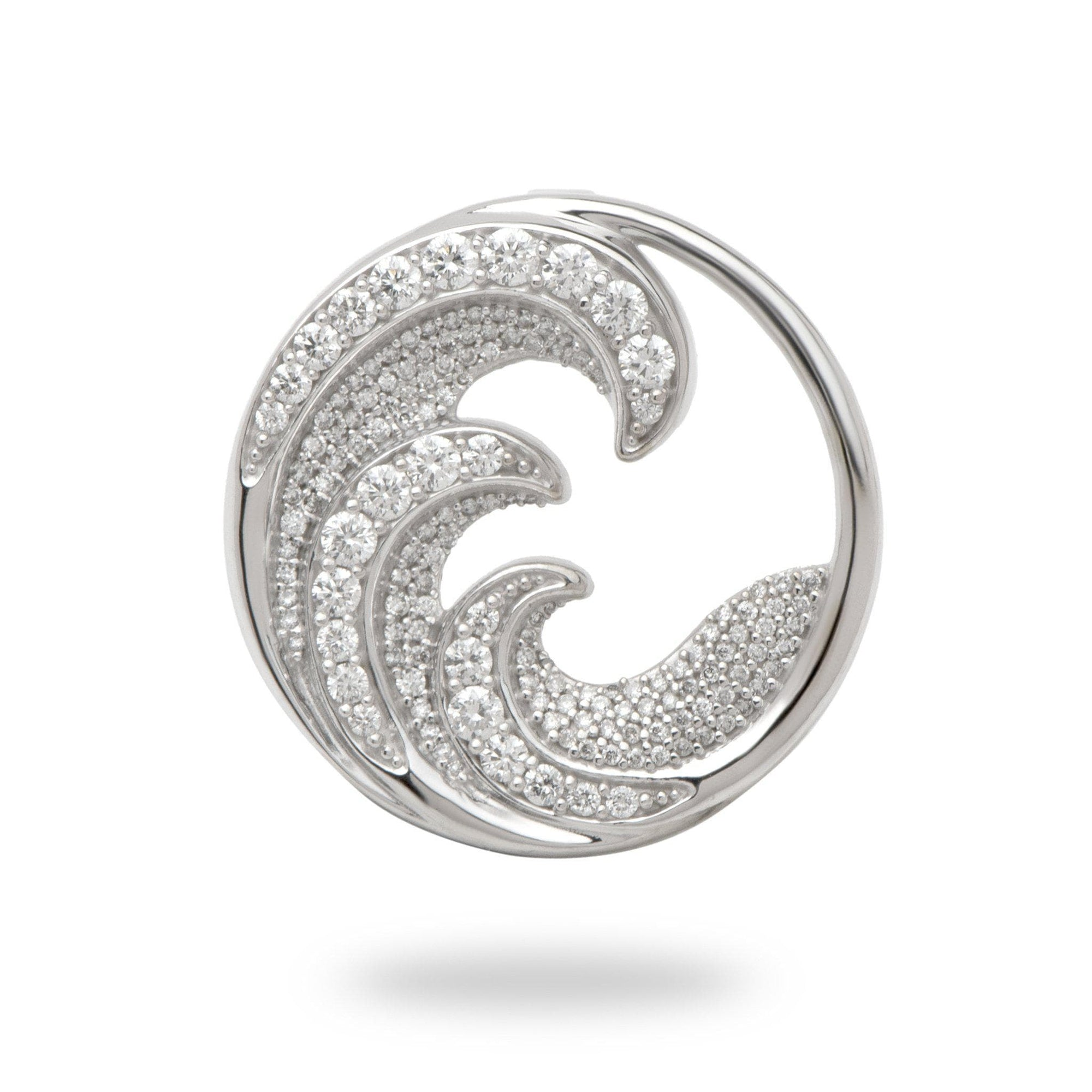 Nalu (Wave) Pendant in 14K White Gold with Diamonds-011-01650