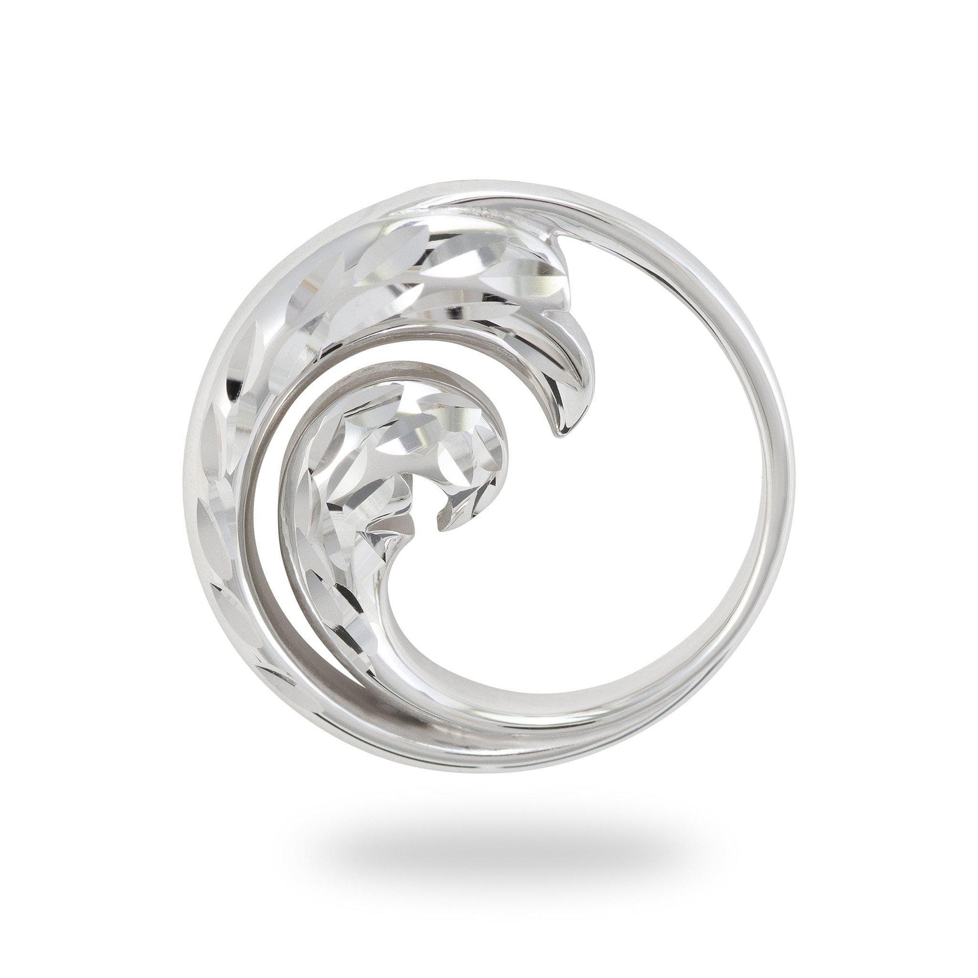 Nalu (Wave) Pendant in 14K White Gold-011-01654