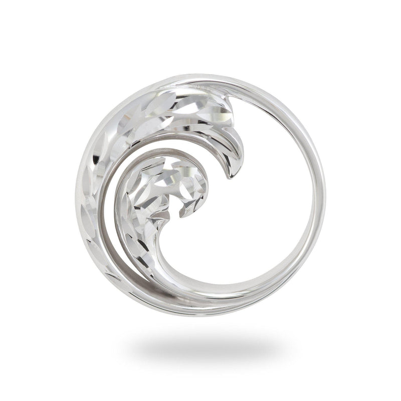 Nalu Pendant in White Gold - 18mm-Maui Divers Jewelry
