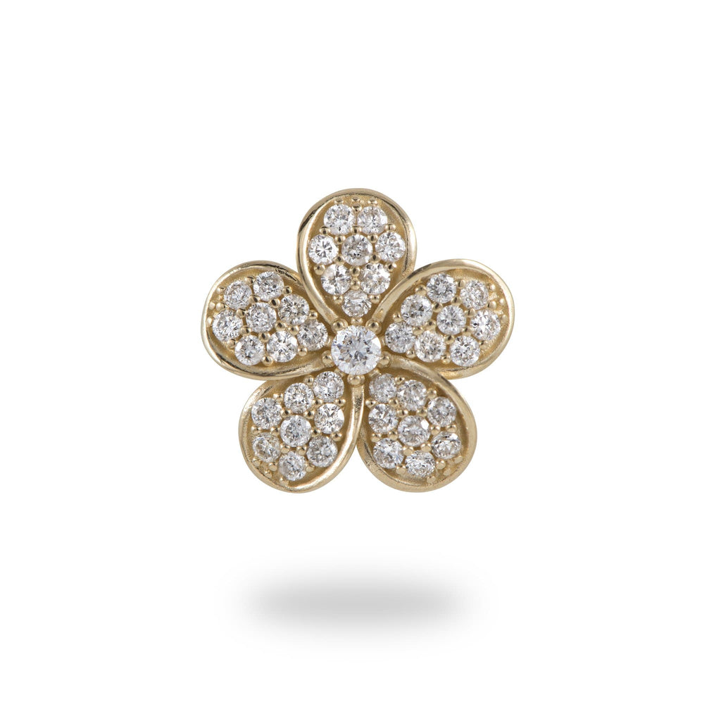 Plumeria (11mm) Pendant in 14K Yellow Gold with Diamonds-011-01661