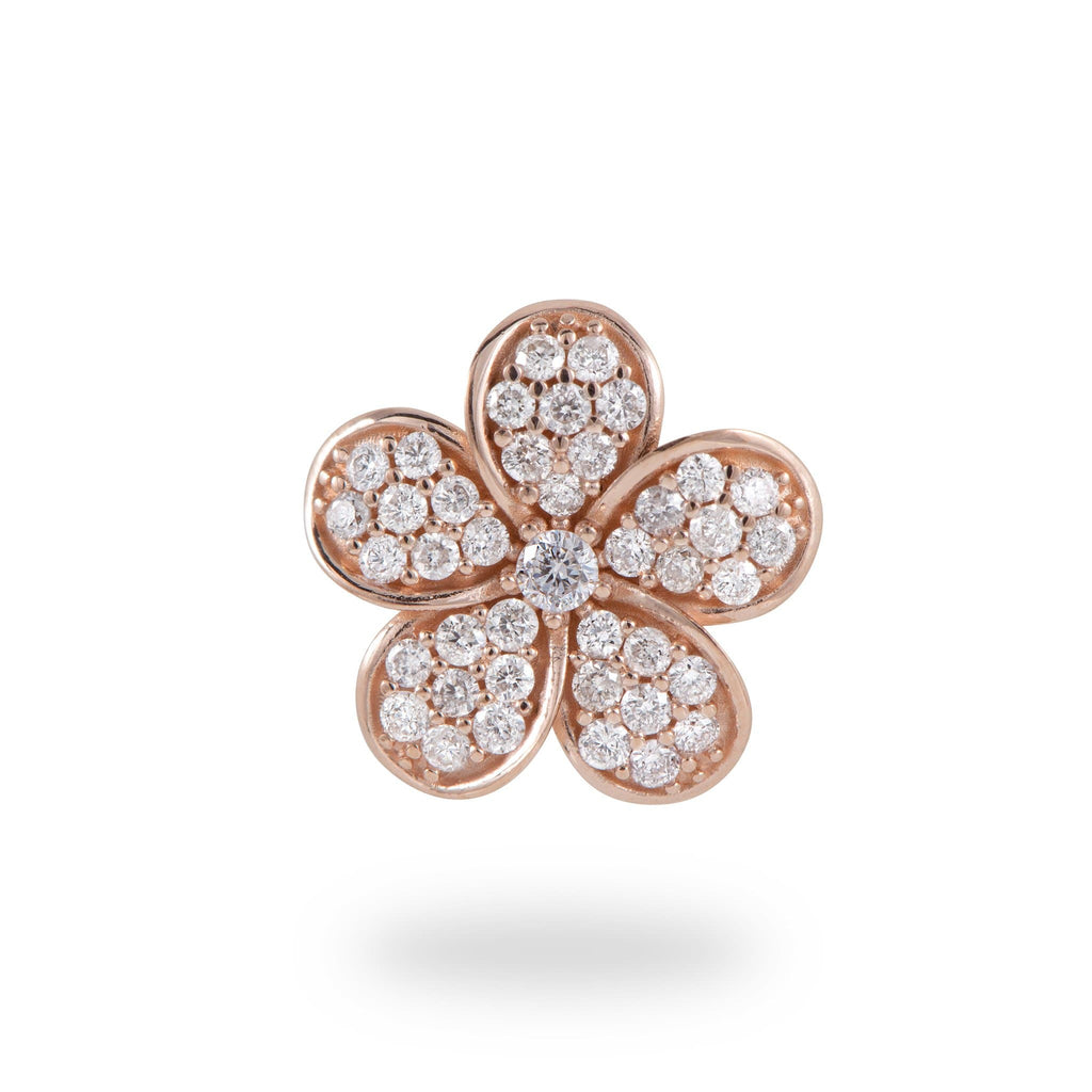 Plumeria Pendant with Diamonds in 14K Rose Gold - 11mm - Maui Divers Jewelry