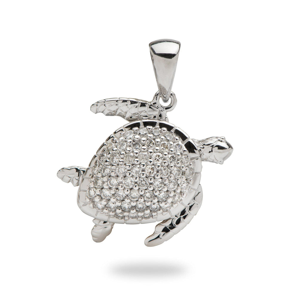 Honu Pendant in White Gold with Diamonds - 16mm-[SKU]