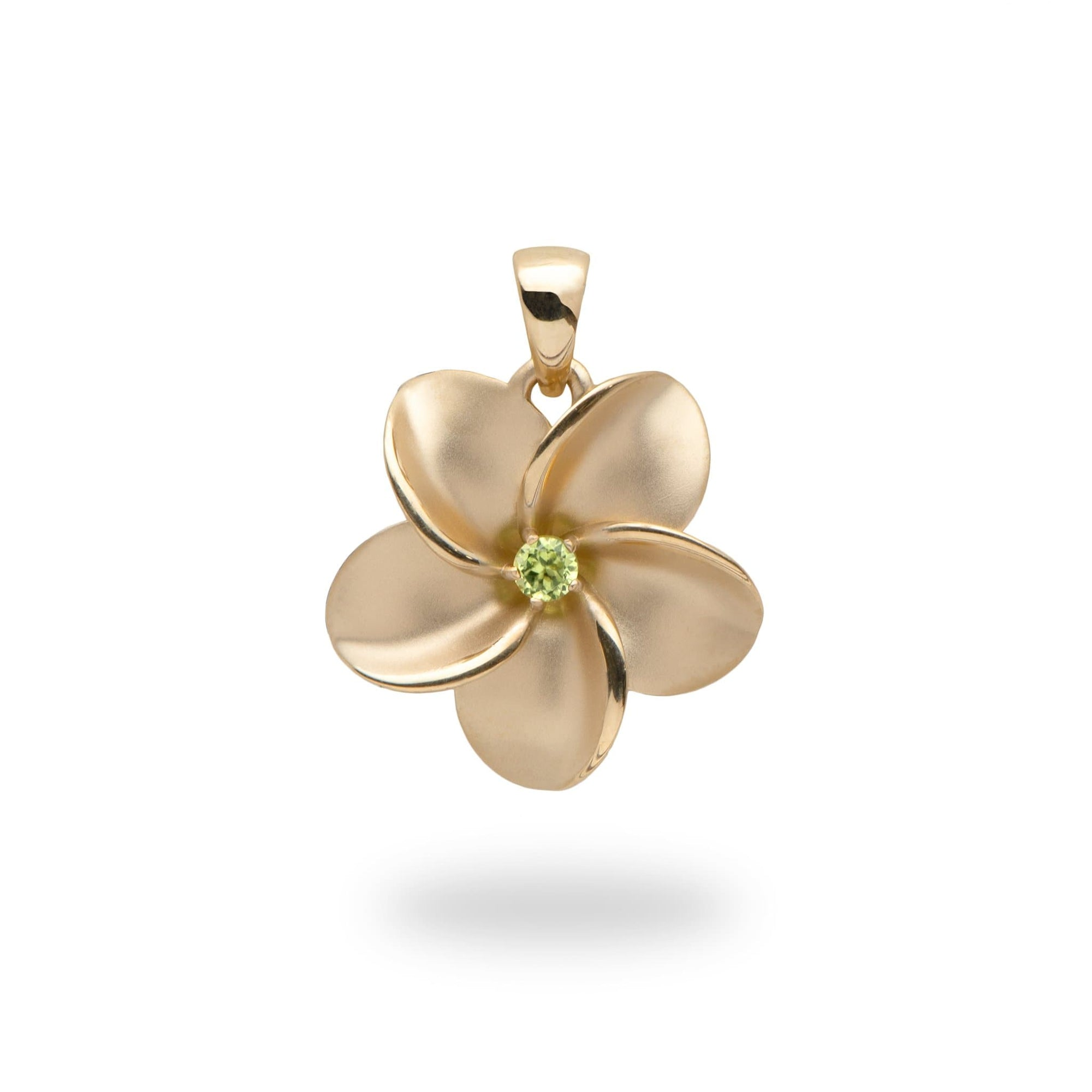 Plumeria Necklace in 14K Yellow Gold with Peridot accent-011-01673