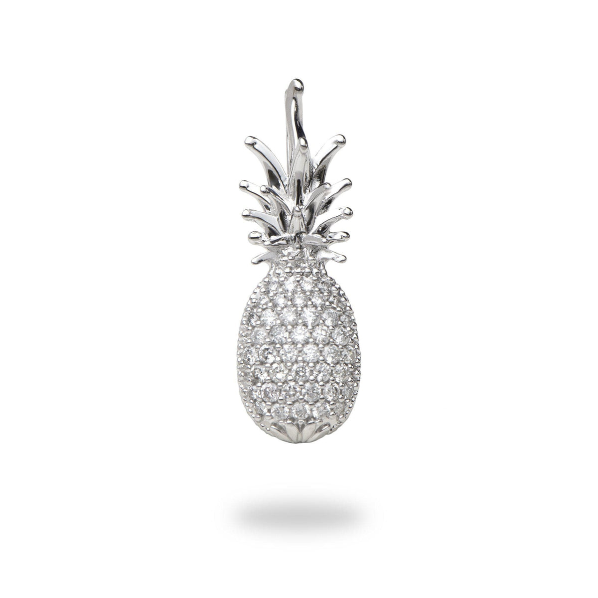 Pineapple Charm/Pendant in 14K White Gold with Diamonds- 20mm-[SKU]