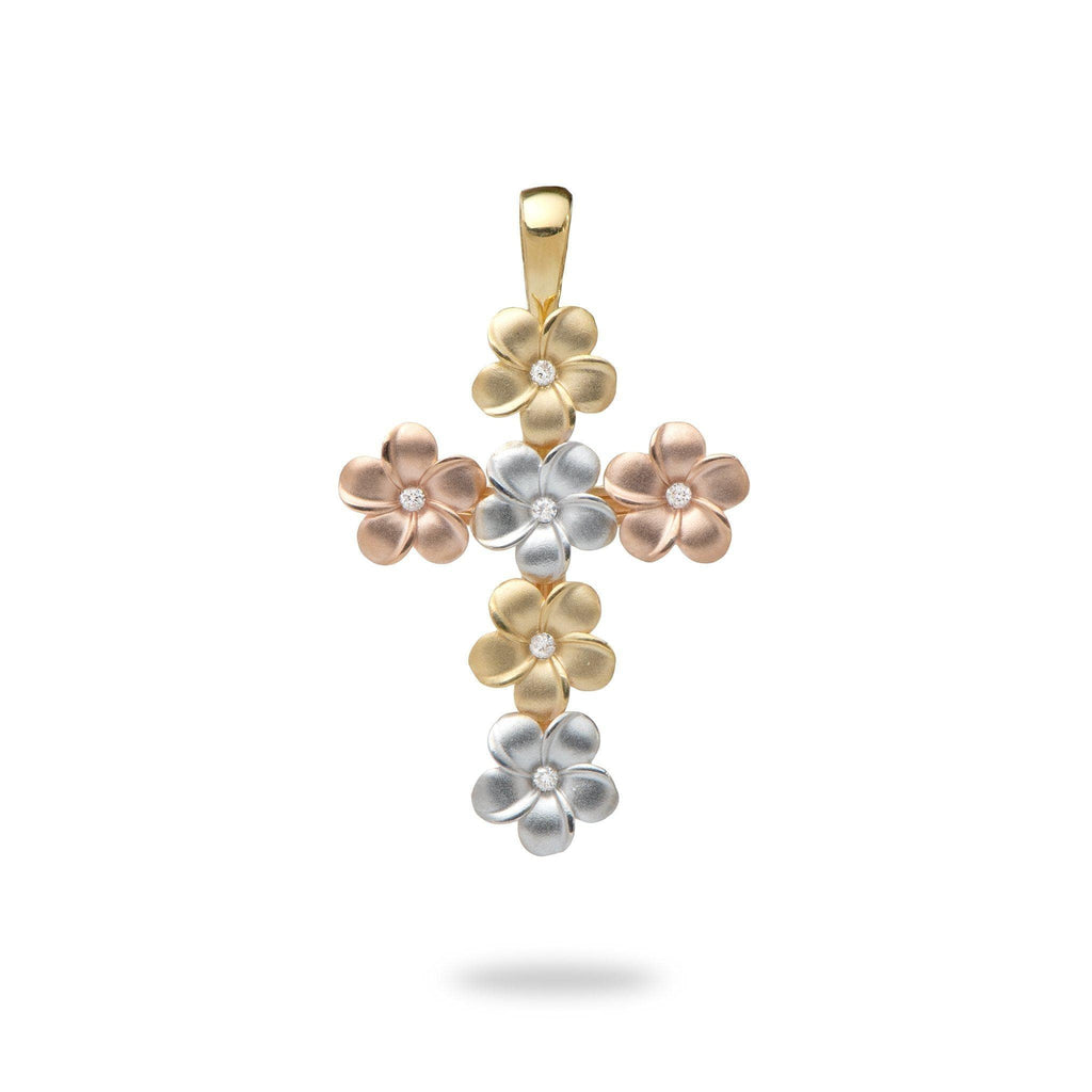 Plumeria Pendant with Diamonds in Tri Color Gold - Maui Divers Jewelry