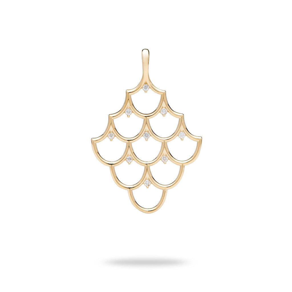 Mermaid Scales (35mm) Pendant in 14K Yellow Gold with Diamonds-[SKU]