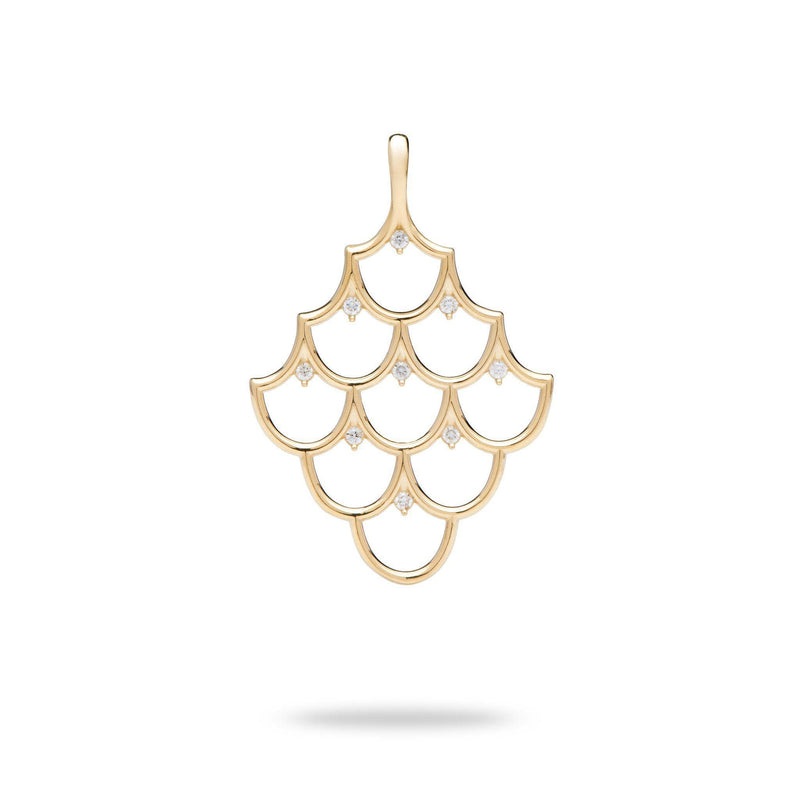 Mermaid Scales (35mm) Pendant in Gold with Diamonds-Maui Divers Jewelry