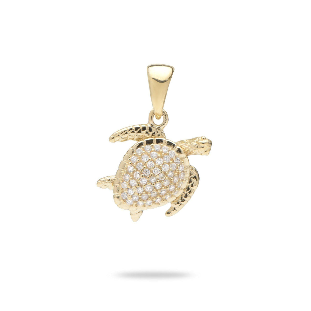 Honu (Sea Turtle) Pendant in 14K Yellow Gold with Diamonds - 13mm