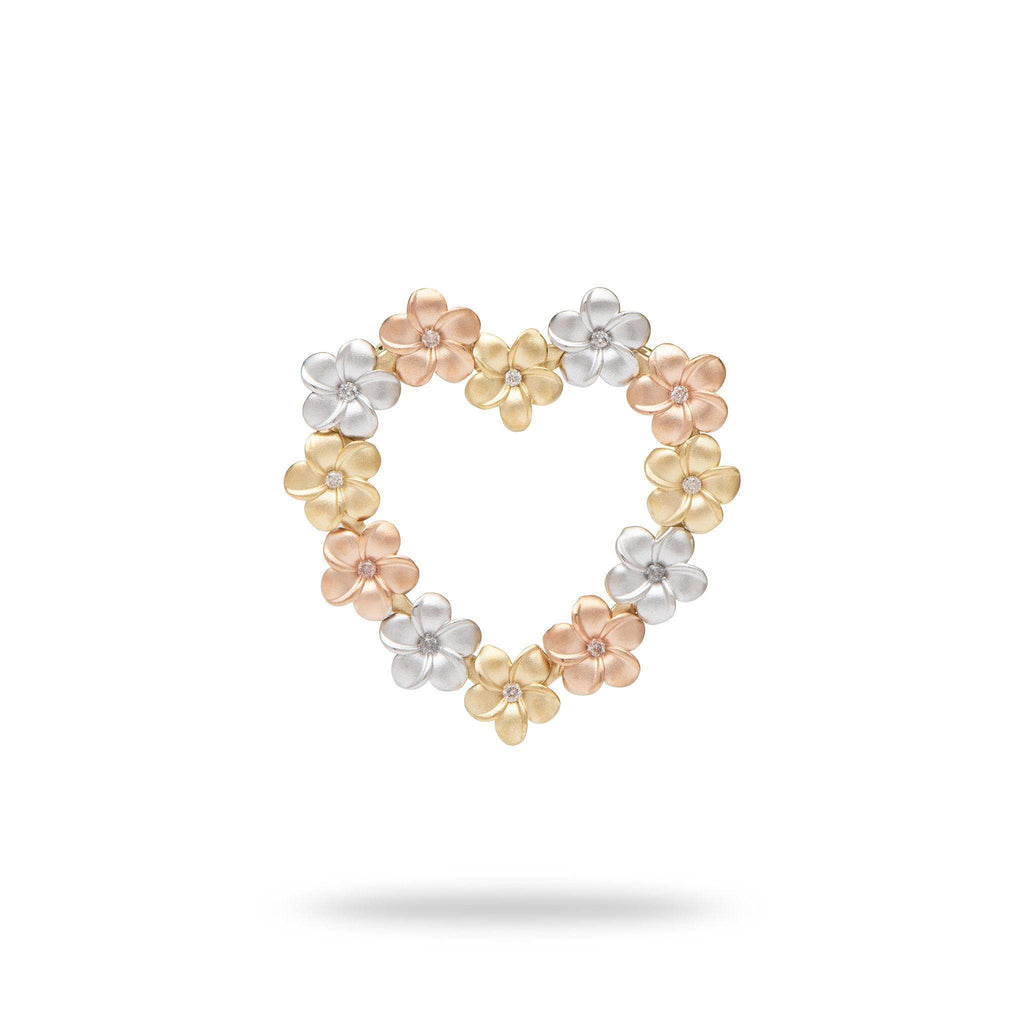 Plumeria Heart Pendant with Diamonds in 14k Tri-Color Gold