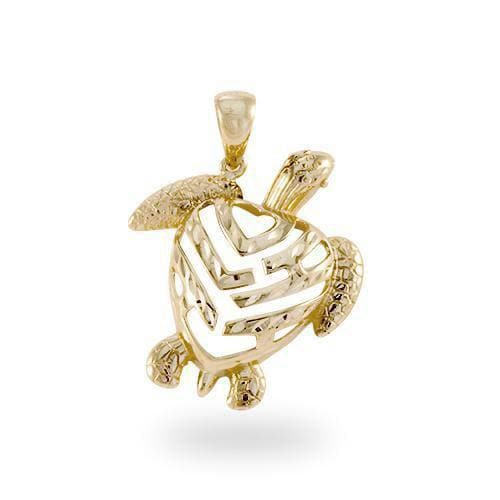Honu Pendant in Gold - 26mm-Maui Divers Jewelry