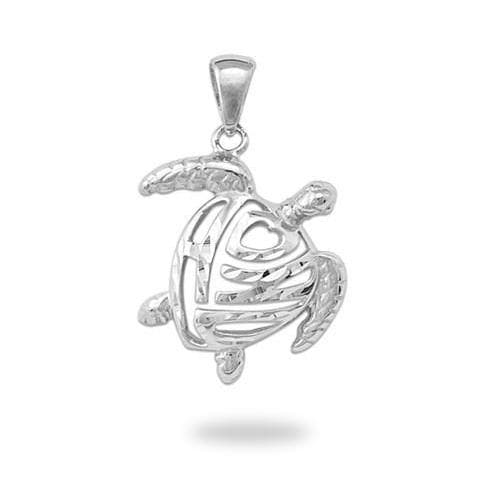 Honu Pendant in White Gold - 15mm-Maui Divers Jewelry