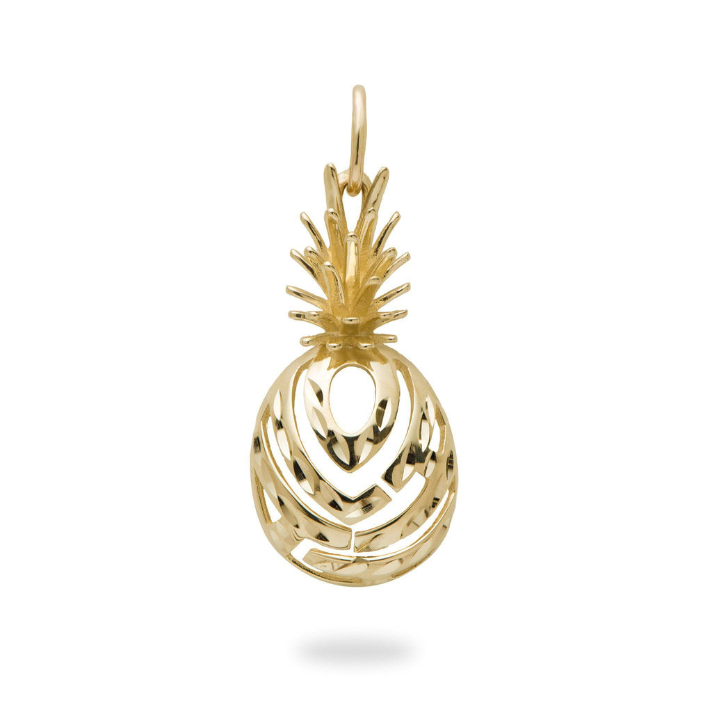 Aloha Pineapple Pendant in 14K Yellow Gold-[SKU]