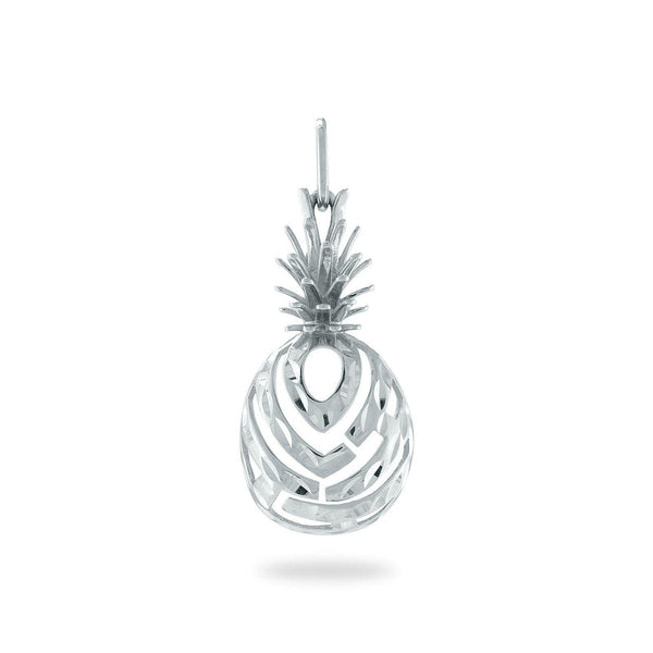 Aloha Pineapple Pendant in 14K White Gold - Extra Small-Maui Divers Jewelry
