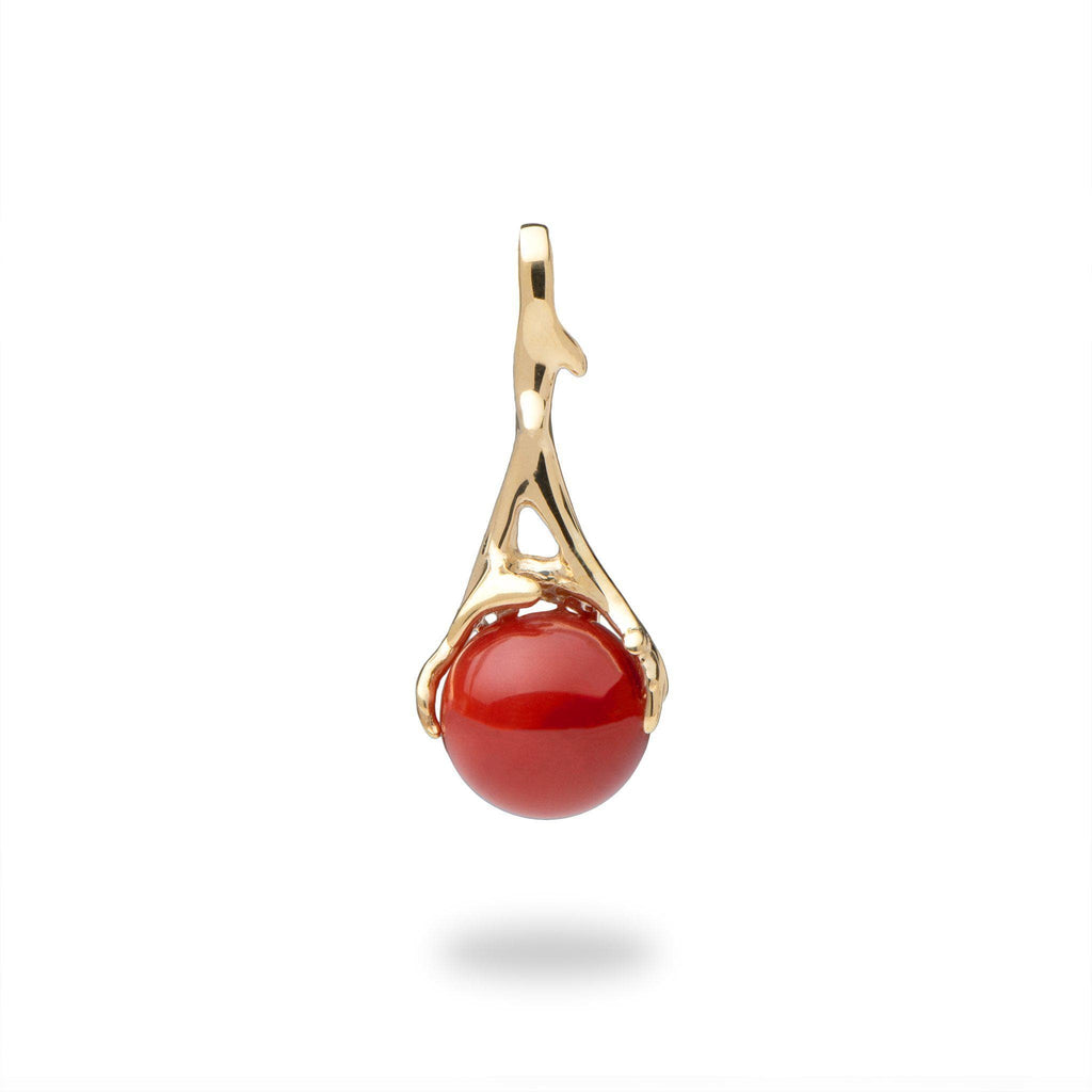 Living Heirloom Red Coral Pendant in 14K Yellow Gold