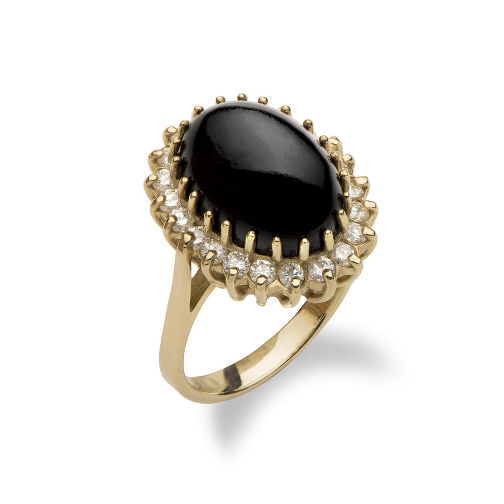 Black Coral Ring with Diamonds in 14K Yellow Gold - Maui Divers Jewelry