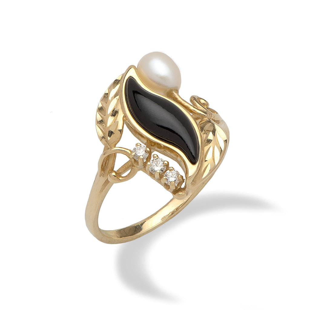 Black Coral Paradise Ring with Diamonds in 14K Yellow Gold - Maui Divers Jewelry
