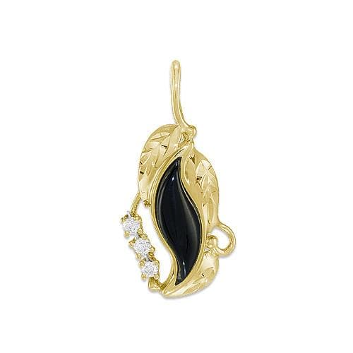 Black Coral Paradise Pendant with Diamonds in 14K Yellow Gold