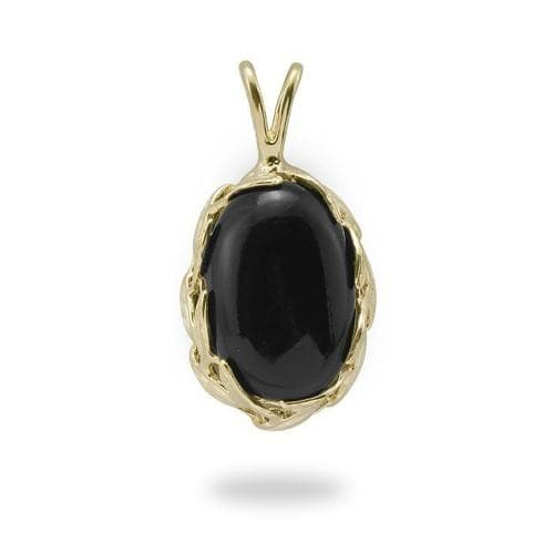 Black Coral Pendant in 14K Yellow Gold