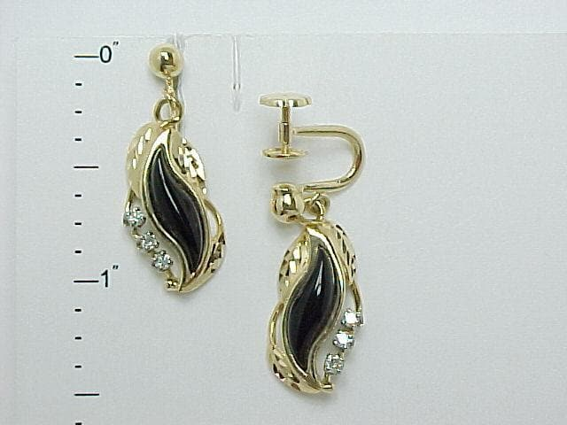 Black Coral Paradise Non-Pierced Earrings with Diamonds in 14K Yellow Gold - Small