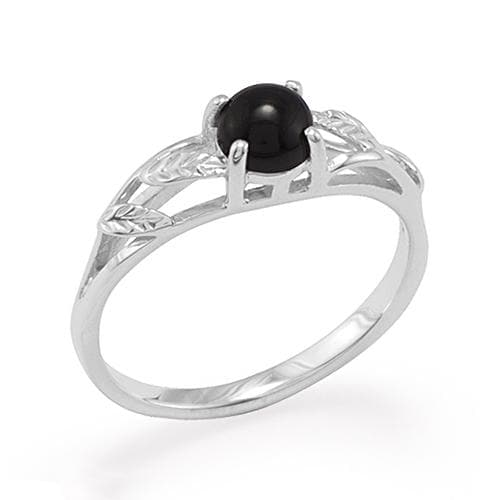 Black Coral Ring in 14K White Gold - Maui Divers Jewelry