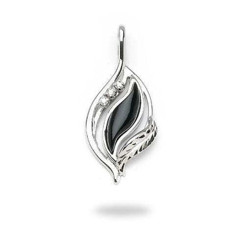 Black Coral Paradise Pendant with Diamonds in 14K White Gold