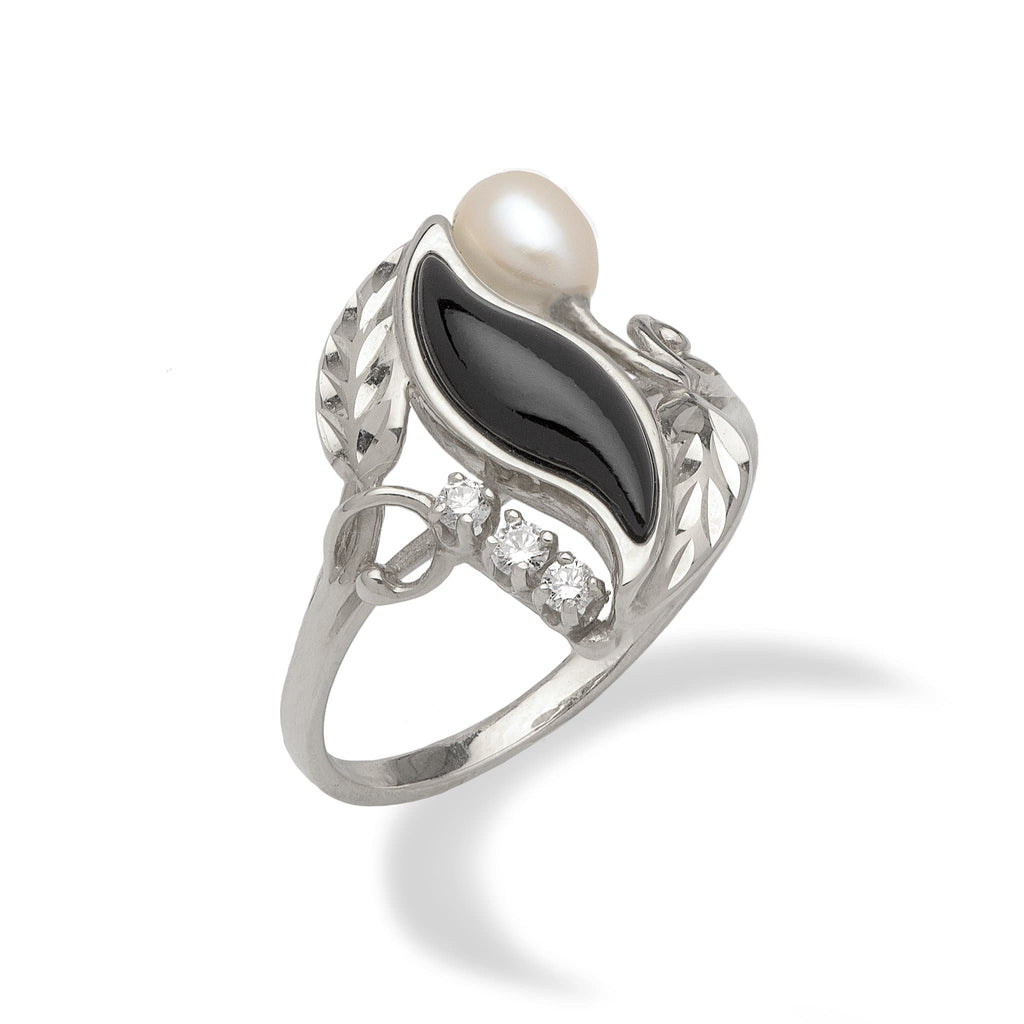 Black Coral Paradise Ring with Diamonds in 14K White Gold - Maui Divers Jewelry