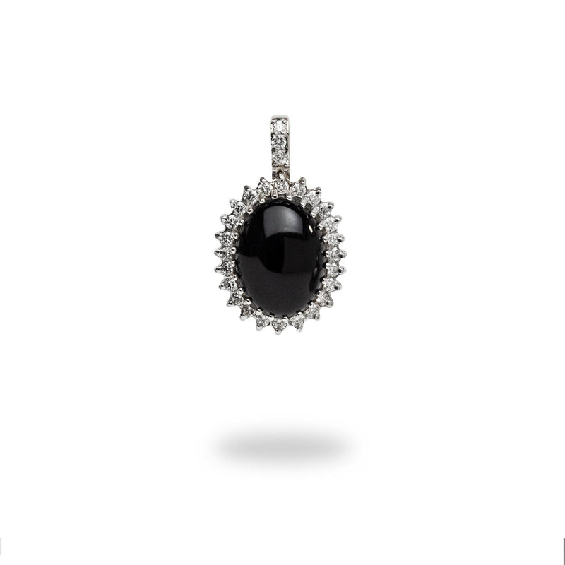 Black Coral Pendant in 14K White Gold with Diamonds