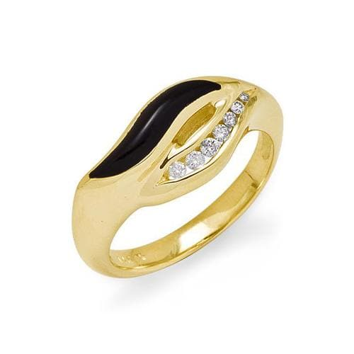 Diamondsが14KのYellow Goldにある第50のAnniversary Black Coral Ring