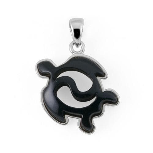 Shop honu sea turtle jewelry at maui divers jewelry page 3 black coral turtle pendant in 14k white gold aloadofball Choice Image